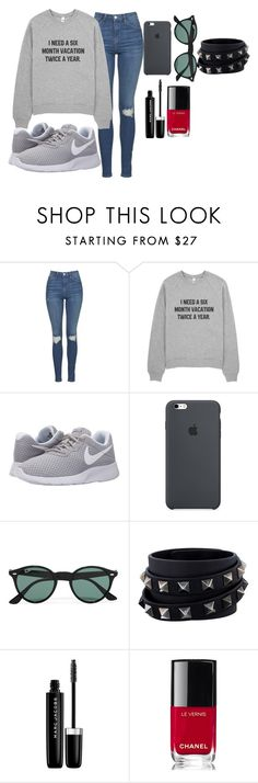 """""""Untitled #181"""" by elsakaram ❤ liked on Polyvore featuring Topshop, NIKE, Ray-Ban, Valentino, Marc Jacobs and Chanel"""