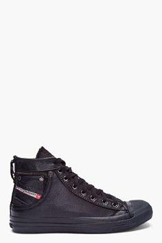 Diesel Black Leather Exposure Sneakers for Men | SSENSE