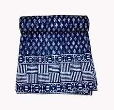 The way in which the stitches have been done by hand makes the quilt extraordinary and very comfortable. Made from two thin layer of cotton fabric make this piece of art irresistible and also very comfortable. Kantha Quilt, Quilts, Bed Covers, Art Deco Fashion, Indigo, Cotton Fabric, Art Pieces, Queen, Stitch