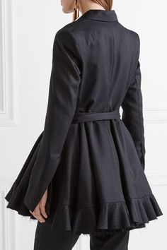 Maggie Marilyn - Give Me Strength Ruffle-trimmed Pinstriped Wool Blazer - Navy - UK
