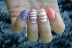 My first attempt at horizontal stripes, could have been worse i guess! I'm using Rimmel Rita Ora Peachella. For more info visit my blog now!