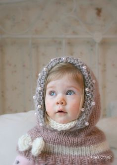 KNITTING PATTERN hood cowl Adele with beads and a por MukiCrafts