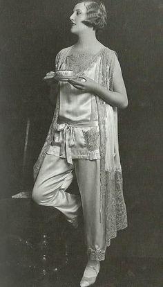Good Morning, everyone!!  Morning Tea, Late 1920s Vintage Pajamas Photo Shoot by James Abbe