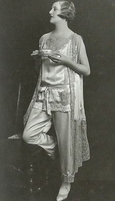 Good Morning, everyone!!  Morning Tea, Late 1920s Vintage Pajamas Photo Shoot by James Abbe