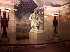 Metro Pushkinskaya in Saint Petersburg , Russia . Monument in station dedicated to the poet Alexander Pushkin, sculpted by Mikhail Anikushin.