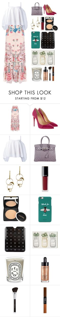 """7.341"" by katrinattack ❤ liked on Polyvore featuring Temperley London, Christian Louboutin, Anna October, Hermès, Zimmermann, Chanel, Lancôme, Gucci, Prada and Oliver Gal Artist Co."