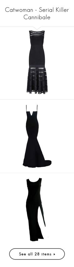 """""""Catwoman - Serial Killer Cannibale"""" by queerlillady ❤ liked on Polyvore featuring dresses, mesh dress, long bandage dress, bandage dresses, long length dresses, sexy dresses, gown, long dresses, robe and sexy long dresses"""