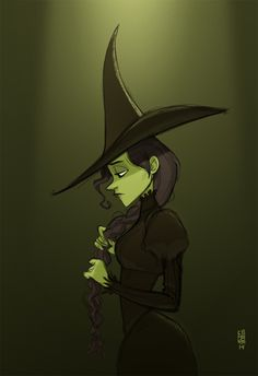 Gorgeous piece of Wicked fanart. Elphaba is so beautiful here.