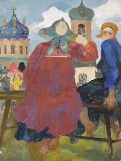 Filipp Malyavin (1869–1940). RUSSIAN PEASANT WOMEN BY A CHURCH, gouache on paper,  25 x 19in