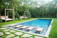 Pool Idea for house. I'd add some rope swings and a trampoline right by the edge of it somewhere.