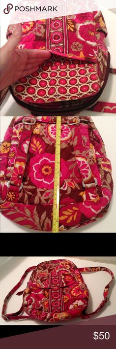 Vera Bradley Carnaby design small backpack Vera Bradley Carnaby design small backpack featuring quilted fabric with pink brown floral pattern, 2  side slots, magnetic closure on one outside slot, two interior slots, zipper top closure and other outside slot. 100% cotton. Preowned but still in very nice condition. Vera Bradley Bags Backpacks
