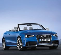 013 RS5 Cabriolet. The new drop top packs the company's 450 hp 4.2 FSI V8 which will take the RS5 Cabrio from 0-62 in 4.9 seconds while on its way to an electronically limited top speed of 155 mph, though an available customer option will unlock an impressive top speed of 174 mph. That power is complemented by Audi's Seven Speed S-Tronic dual-clutch transmission and the Quattro all-wheel-drive system which touts a 40:60 front/rear ratio.