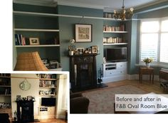 Loving details to bring out picture rails and shelves Oval Room Blue, My Dream Home, Room Inspiration, Playroom, Bookcase, Entryway, Sweet Home, Lounge, Shelves