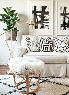 Graphic prints, greenery, light accessories, luxe, living space.