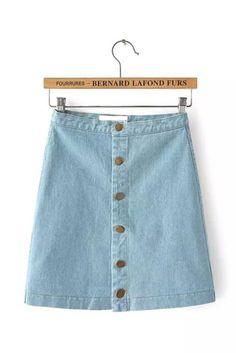 Light Blue Denim A-Line Button Front Mini Skirt