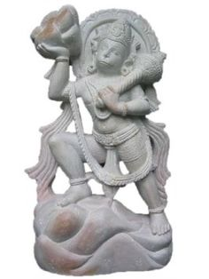 Amazon.com: Mogulinterior Hanuman Carrying Mountain of Herbs India Gorara Stone Statue: Home & Kitchen