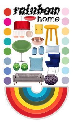 """RH - Room for room rainbow"" by untaken-name on Polyvore featuring interior, interiors, interior design, home, home decor, interior decorating, Anya Hindmarch, Stonegate Designs, Tina Frey Designs and Vitra"