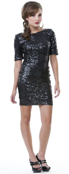 Black Full Glam Sequin Cocktail Dress - Unique Vintage - Homecoming Dresses, Pinup & Prom Dresses.
