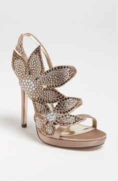 Floral metallic. Nina 'Bryyce' Sandal available at Nordstrom #wedding