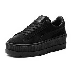 Fenty by Puma Cleated Suede Creeper Sneakers (€140) ❤ liked on Polyvore featuring shoes, sneakers, suede leather shoes, creeper sneakers, puma trainers, suede shoes and puma sneakers
