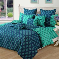 Swayam Floral Shades N More Printed Bed Set Turquoise,Bed Sheets
