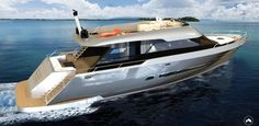 Rise 80 concept yacht is a special project of Okan Culfa, a compact yacht design with flybridge. The flowing and simple lines with thin windows in the hull contribute to give a slender shape in a neat and attractive style.
