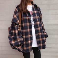 Buy Moon City Snap Button Flannel Shirt at YesStyl Cute Casual Outfits, Retro Outfits, Grunge Outfits, Vintage Outfits, Casual Pants, Casual Shirts, Mode Outfits, Korean Outfits, Fashion Outfits