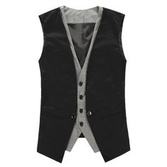 24.52$  Watch now - http://di4dn.justgood.pw/go.php?t=202599006 - V Neck Single Breasted Faux Twinset Waistcoat 24.52$