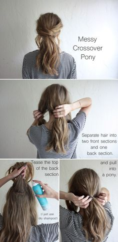 hair tutorial: messy crossover pony
