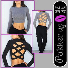 Women Pullover Short Tops Jumper Backless Long Sleeve Sweater Autumn Fashion UK