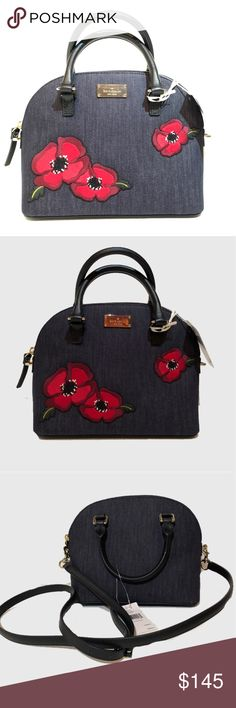 4429790370a9 Kate Spade Mini Carli Poppies NEW with tags Kate Spade Grove Street denim  poppies handbag.