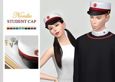 Nordic Student Cap• New mesh / EA mesh edit • Category: hat (women / men) • Age: teen / young adult / adult / elder • 10 swatches Download: SimFileShare