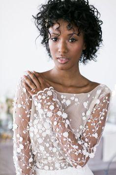 Beautiful floral embellished wedding dress: Photography: Matthew Land - https://www.matthewland.com/