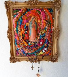 Our Lady of Guadalupe by Diane on Etsy Religious Icons, Religious Art, Fiber Art Quilts, Art Quilting, Catholic Crafts, Inspiration Art, Quilted Wall Hangings, Assemblage Art, Mexican Folk Art