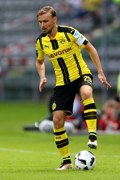 Marcel Schmelzer of Dortmund runs with the ball during the friendly match between Wuppertaler SV and Borussia Dortmund at Stadion Zoo on July 9, 2016 in Wuppertal, Germany.