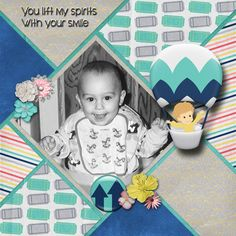 A picture of my son.  Kit used: Grace Blossoms 4 U's Come Up Here available at http://www.scraps-n-pieces.com/store/index.php?main_page=product_info&cPath=66_161&products_id=9425  Template by Lindsay Jane.