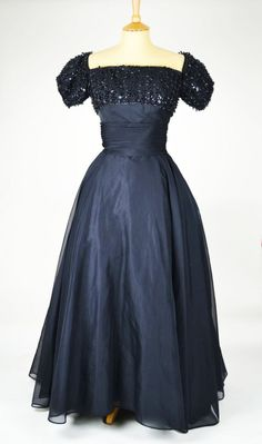 1950s/60s Vintage Evening Gown with Sequinned Boned Bodice