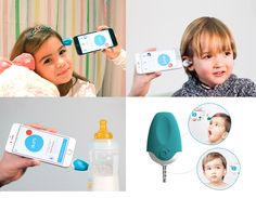 Oblumi tapp is a device that, when connected to a mobile phone, converts into a digital infrared thermometer with a range of capabilities. / Mit Oblumi tapp Thermometer und dem medizinischem Infrarot-Sensor können Sie die Körpertemperatur an Stirn sowie im Ohr messen und die Temperatur in Flüssigkeiten, wie z.B Babyfläschchen, messen. Mobiles, Smartphone, Cat Ears, In Ear Headphones, Children, Accessories, Medical, Boys