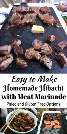Easy To Make Homemade Hibachi (with Meat Marinade) • Oh Snap! Let's Eat! Hibachi Recipes, Grilling Recipes, Pork Recipes, Real Food Recipes, Game Recipes, Hibachi Steak, Hibachi Chicken, Tofu, Outdoor Griddle Recipes
