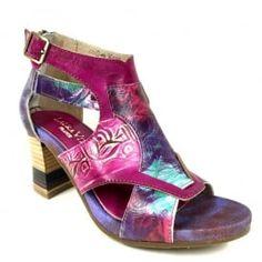 63a0dc803e7 Laura Vita Celeste 038 Violet Block Heel Floral Embossed Leather Shoes