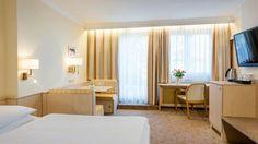 Zweibettzimmer mit Gartenblick Salzburg, Restaurant, Divider, Curtains, Room, Furniture, Home Decor, Hotel Bedrooms