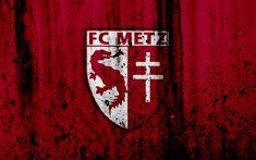 Download wallpapers FC Metz, 4k, logo, Ligue 1, stone texture, Metz, grunge, soccer, football club, metal texture, Liga 1, Metz FC