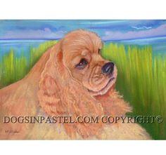 Cocker Spaniel art pet portrait painting ORIGINAL Pastel Dog Art cocker spaniel