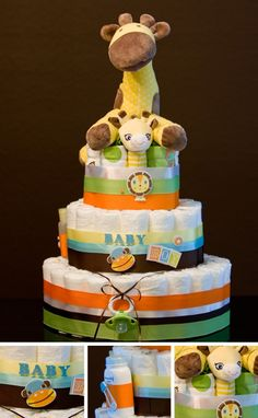 Giraffe diaper cake.. baby shower gift idea!