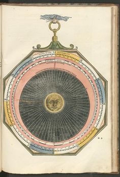 """Apianus, Petrus (1495-1552), teacher to Karl V and astronomer: From """" Astronomicum Cawesareum"""" (1540), a hand-painted book on astronomy. Paper disks can be moved by strings to show displacement of the heavenly bodies."""