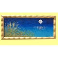 """Dipinti Paesaggi Mare """"Mare di notte con luna"""" Quadri Paesaggi-Acrilico spatolato e glitter su tela. Un paesaggio notturno con una luna che si specchia sul mare. Cespugli in rilievo si affacciano lateralmente sul quadro dai colori brillanti. La luna increspata trattiene cristalli di vetro e flitter."""