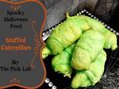 Stuffed Caterpillars Pillsburry Dough Croissants dipped in a green butter wash (melted butter w/green food coloring) wrapped around big chunks of fresh mozzarella cheese. Baked as instructed on the croissant package. Creepy Halloween Food, Spooky Food, Halloween Dinner, Halloween Goodies, Halloween Food For Party, Holidays Halloween, Halloween Treats, Halloween 2019, Haunted Halloween