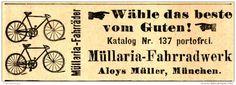 Original-Werbung/ Anzeige 1907 - MÜLLARIA FAHRRAD / ALOYS MÜLLER -  MÜNCHEN - ca. 80 x 30 mm