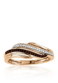 Belk  Co.  110 ct. t.w. Cognac and White Diamond Ring in 10k Rose Gold