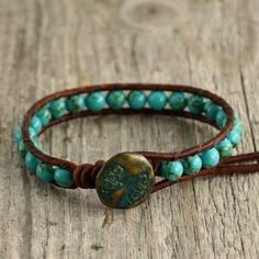 Turquoise beaded leather wrap bracelet. Stackable boho chic bracelet by SinonaDesign on Etsy